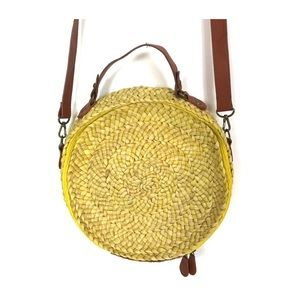 Topshop Round Straw Bag in Yellow